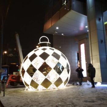 Объемная фигура новогодний шар из АКП